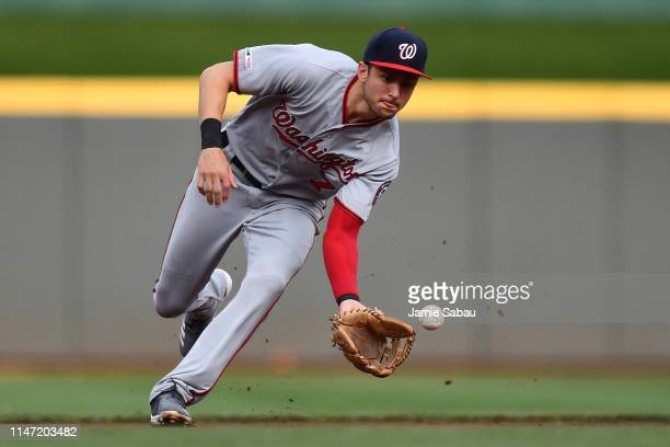 Trea Turner of the Washington Nationals fields a ground ball in the first inning against the Cincinnati Reds at Great American Ball Park on May 31...