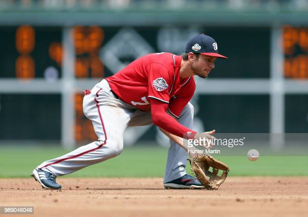 Trea Turner of the Washington Nationals fields a ground ball in the second inning during a game against the Philadelphia Phillies at Citizens Bank...