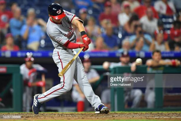 Trea Turner of the Washington Nationals hits a two run home run in the third inning against the Philadelphia Phillies at Citizens Bank Park on August...