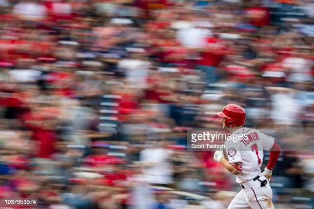 Trea Turner of the Washington Nationals hits a tworun home run against the New York Mets during the third inning at Nationals Park on September 22...