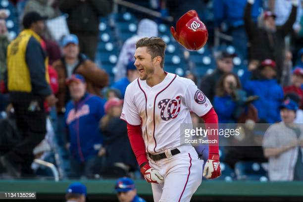 Trea Turner of the Washington Nationals hits a walkoff home run to win the game against the New York Mets during the ninth inning at Nationals Park...