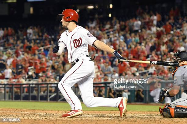 Trea Turner of the Washington Nationals hits grand slam home run in the sixth inning during a baseball game against the Miami Marlins at Nationals...