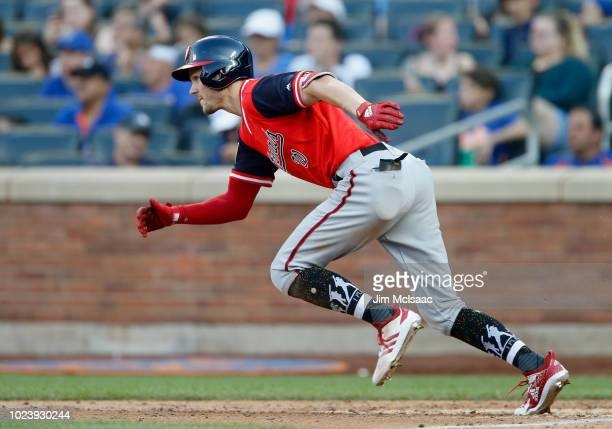 Trea Turner of the Washington Nationals in action against the New York Mets at Citi Field on August 25 2018 in the Flushing neighborhood of the...
