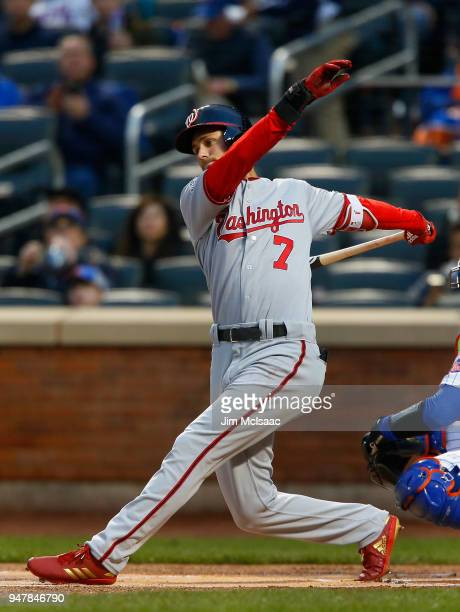 Trea Turner of the Washington Nationals in action against the New York Mets at Citi Field on April 16 2018 in the Flushing neighborhood of the Queens...