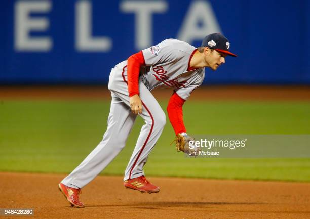 Trea Turner of the Washington Nationals in action against the New York Mets at Citi Field on April 18 2018 in the Flushing neighborhood of the Queens...
