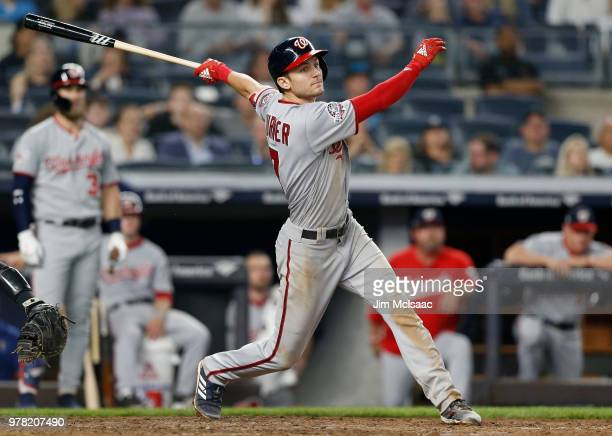 Trea Turner of the Washington Nationals in action against the New York Yankees at Yankee Stadium on June 13 2018 in the Bronx borough of New York...