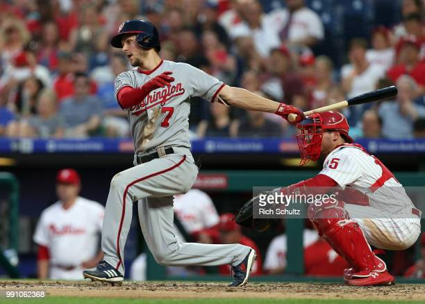 Trea Turner of the Washington Nationals in action during a game against the Philadelphia Phillies at Citizens Bank Park on June 29 2018 in...