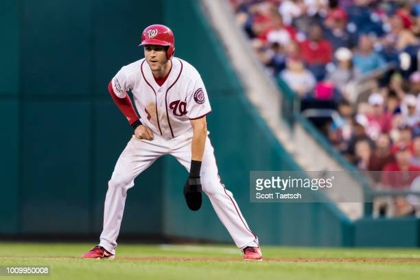 Trea Turner of the Washington Nationals leads off first base after hitting a two run single during the second inning at Nationals Park on August 02...