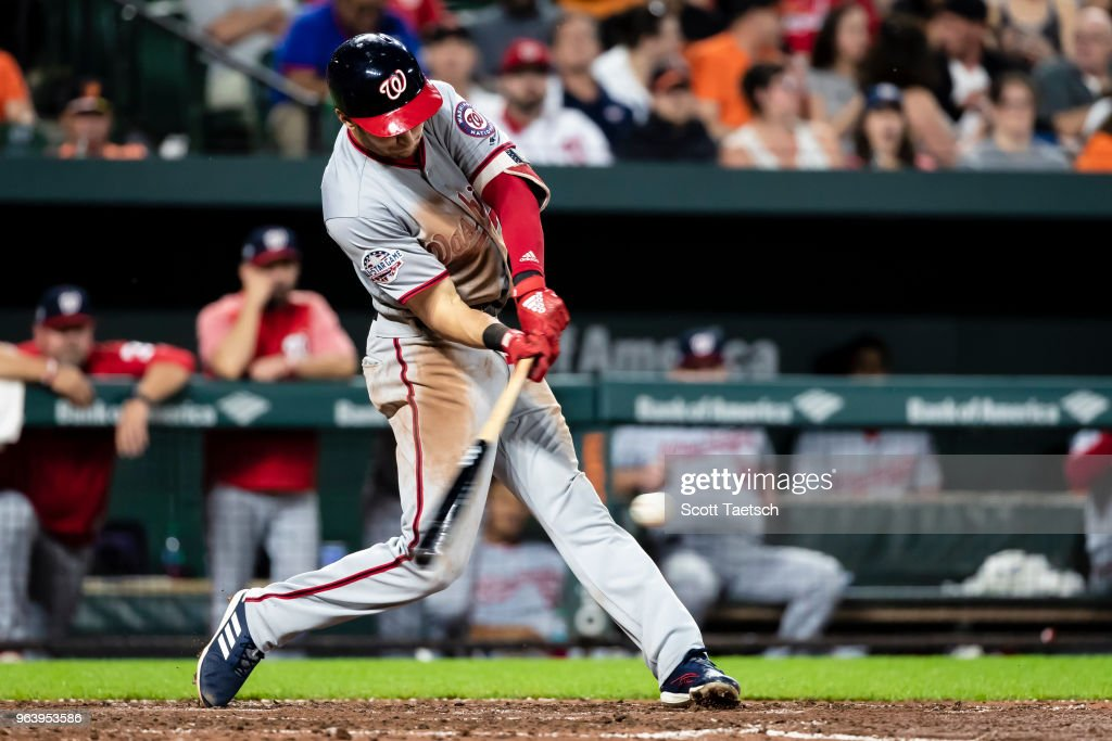 Trea Turner #7 of the Washington Nationals lines out against the Baltimore Orioles during the fifth inning at Oriole Park at Camden Yards on May 30, 2018 in Baltimore, Maryland.