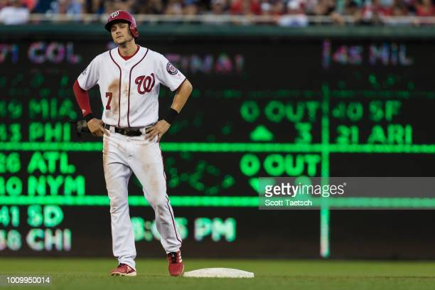 Trea Turner of the Washington Nationals looks on after stealing second base during the second inning at Nationals Park on August 02 2018 in...