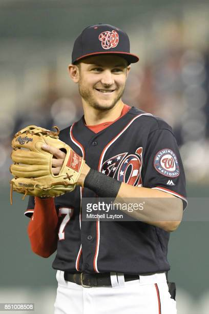 Trea Turner of the Washington Nationals looks on before a baseball game against the Los Angeles Dodgers at Nationals Park on September 17 2017 in...