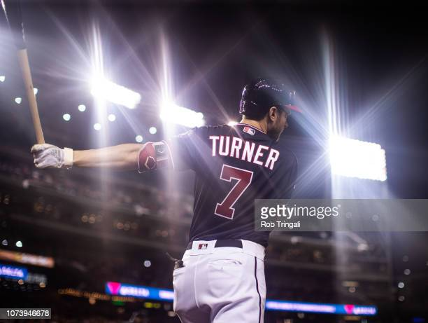 Trea Turner of the Washington Nationals looks on during a game against the Miami Marlins at Nationals Park on Tuesday September 25 2018 in Washington...