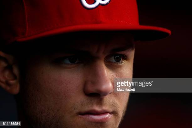 Trea Turner of the Washington Nationals looks on from the dugout in the eighth inning against the Arizona Diamondbacks at Nationals Park on September...