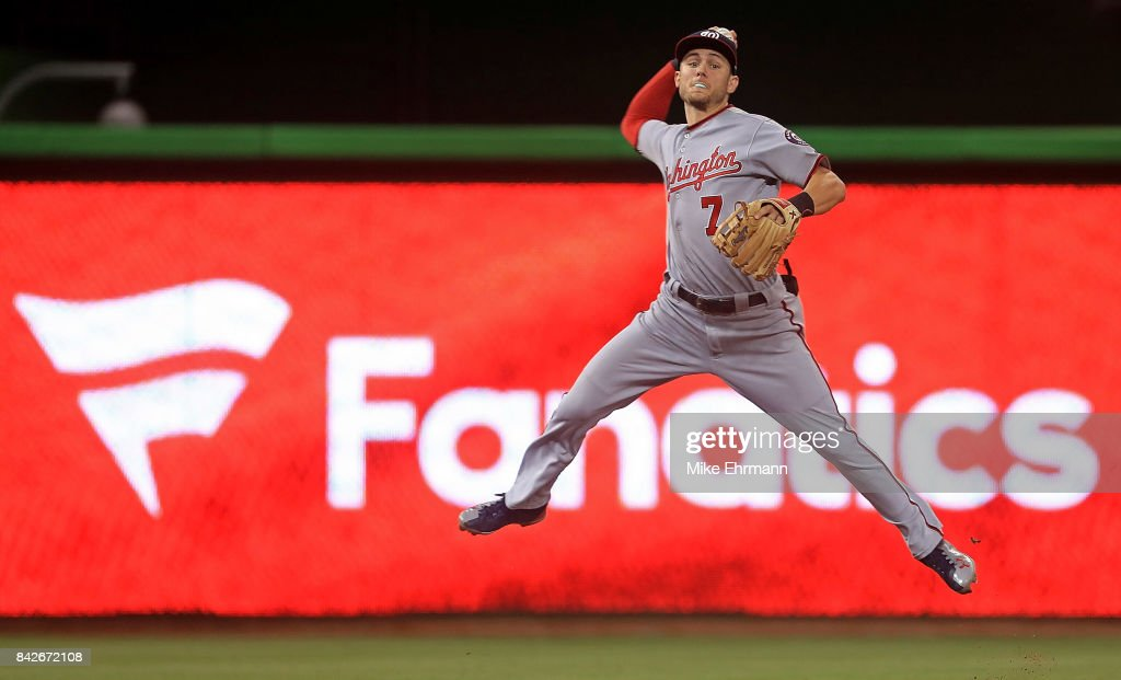 Trea Turner #7 of the Washington Nationals makes a throw to first during a game against the Miami Marlins at Marlins Park on September 4, 2017 in Miami, Florida.