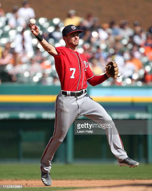 Trea Turner of the Washington Nationals makes the throw to first base during the second inning of the game against the Detroit Tigers at Comerica...