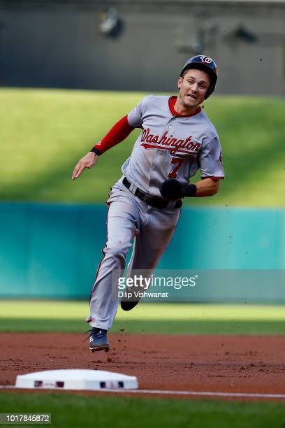 Trea Turner of the Washington Nationals on his way to scoring a run against the St Louis Cardinals in the first inning at Busch Stadium on August 16...