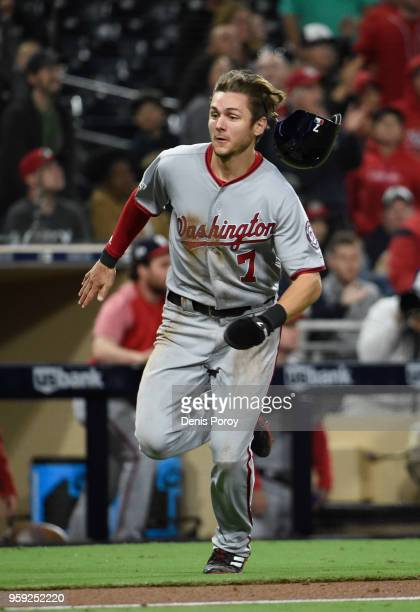 Trea Turner of the Washington Nationals plays during a baseball game against the San Diego Padres at PETCO Park on May 7 2018 in San Diego California...
