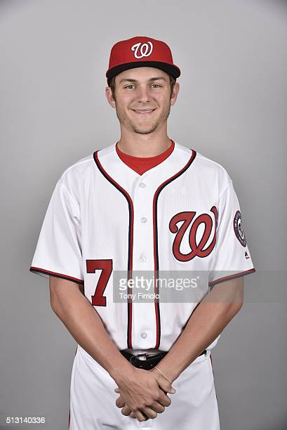 Trea Turner of the Washington Nationals poses during Photo Day on Sunday February 28 2016 at Space Coast Stadium in Viera Florida