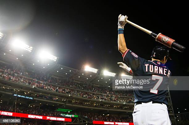 Trea Turner of the Washington Nationals prepares to bat in the seventh inning of a baseball game against the Miami Marlins at Nationals Park on...