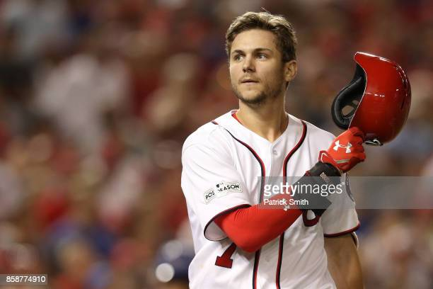 Trea Turner of the Washington Nationals reacts after striking out against the Chicago Cubs with the bases loaded in the fifth inning during game two...