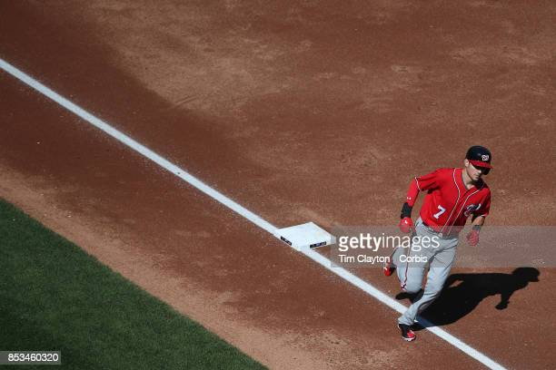 Trea Turner of the Washington Nationals rounds the base after hitting a two run home run in the third inning during the Washington Nationals Vs New...