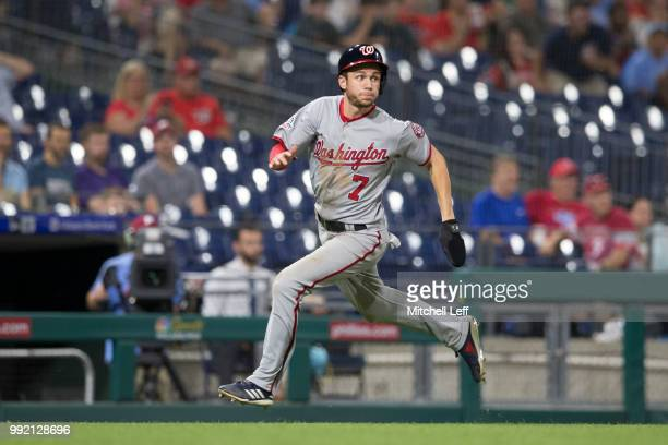 Trea Turner of the Washington Nationals runs home against the Philadelphia Phillies at Citizens Bank Park on June 28 2018 in Philadelphia Pennsylvania