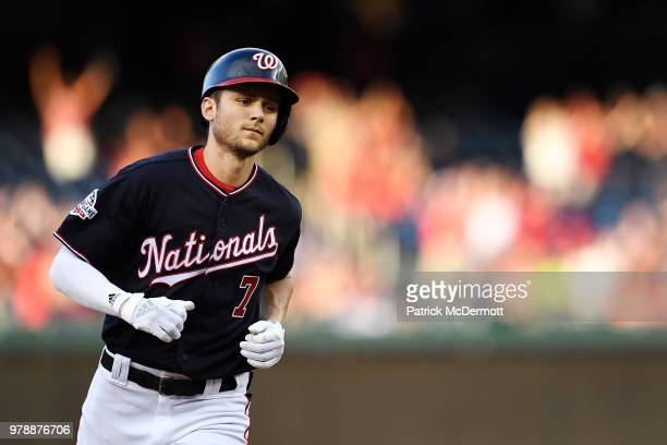 Trea Turner of the Washington Nationals runs the bases after hitting a solo home run in the second inning against the Baltimore Orioles at Nationals...