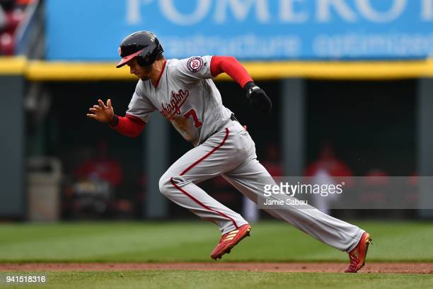 Trea Turner of the Washington Nationals runs the bases against the Cincinnati Reds at Great American Ball Park on April 1 2018 in Cincinnati Ohio...