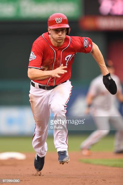 Trea Turner of the Washington Nationals runs the bases against the San Francisco Giants at Nationals Park on June 8 2018 in Washington DC