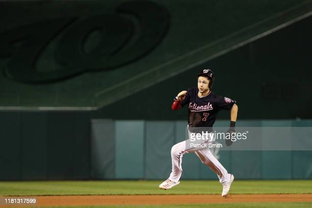 Trea Turner of the Washington Nationals runs the bases in the first inning against the St. Louis Cardinals during game four of the National League...