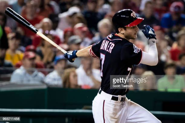 Trea Turner of the Washington Nationals singles during the seventh inning against the Miami Marlins at Nationals Park on July 06 2018 in Washington DC