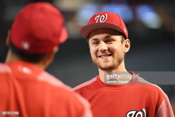 Trea Turner of the Washington Nationals smiles during batting practice prior to the MLB game against the Arizona Diamondbacks at Chase Field on May...