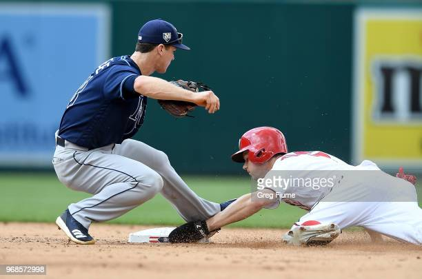 Trea Turner of the Washington Nationals steals second base in the sixth inning ahead of the tag of Joey Wendle of the Tampa Bay Rays at Nationals...