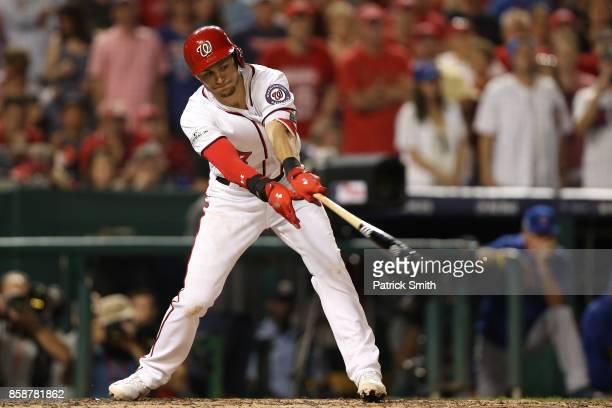Trea Turner of the Washington Nationals strikes out against the Chicago Cubs with the bases loaded in the fifth inning during game two of the...