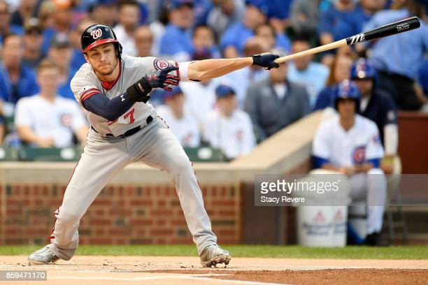 Trea Turner of the Washington Nationals swings at a pitch in the first inning against the Chicago Cubs during game three of the National League...