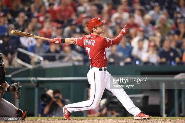 Trea Turner of the Washington Nationals takes a swing during a baseball game against the Miami Marlins at Nationals Park on August 18 2018 in...