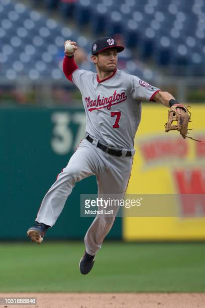 Trea Turner of the Washington Nationals throws out Odubel Herrera of the Philadelphia Phillies to end the bottom of the second inning in game 1 of...
