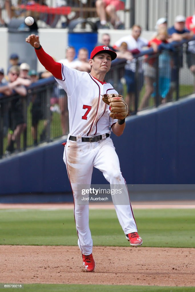 Trea Turner #7 of the Washington Nationals throws Rob Refsnyder #38 of the New York Yankees out for the final out of the third inning during a spring training game at The Ballpark of the Palm Beaches on March 20, 2017 in West Palm Beach, Florida. The Yankees defeated the Nationals 9-3.