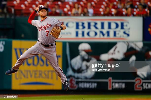 Trea Turner of the Washington Nationals throws to first base against the St Louis Cardinals first inning at Busch Stadium on August 14 2018 in St...