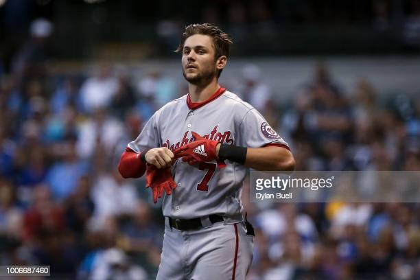 Trea Turner of the Washington Nationals walks across the field in the fourth inning against the Milwaukee Brewers at Miller Park on July 23 2018 in...