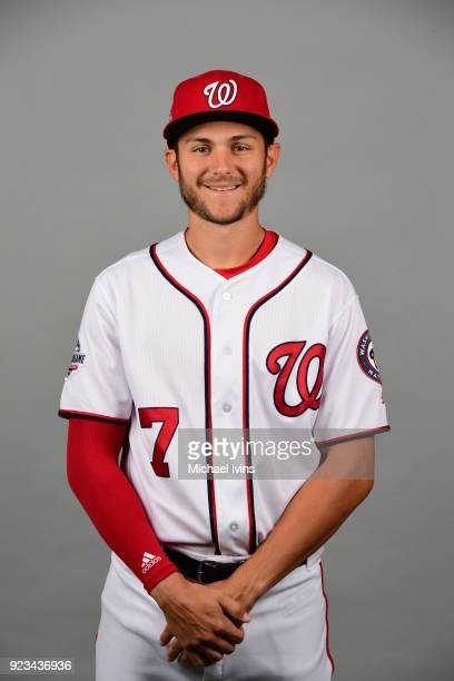 Trea Turner poses during Photo Day on Thursday February 22 2018 at the Ballpark of Palm Beaches in West Palm Beach Florida