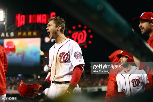 Trea Turner reacts as Michael Taylor of the Washington Nationals hits a home run during Game 5 of the National League Division Series against the...