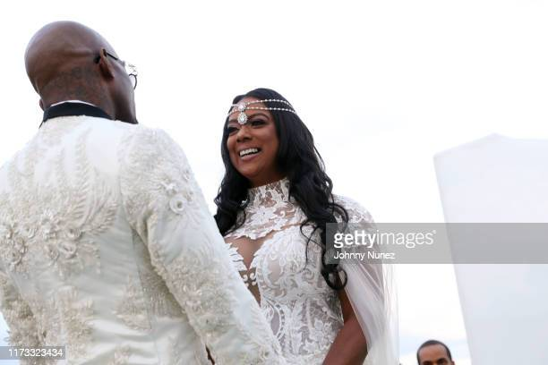 Treach and Cicely Evans during their wedding ceremony at Waterside Reception Hall on September 08 2019 in North Bergen New Jersey