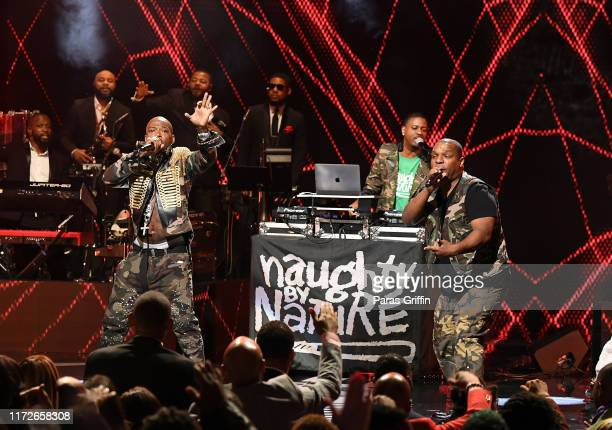 Treach DJ Kay Gee and Vin Rock of Naughty by Nature perform onstage during 2019 Black Music Honors at Cobb Energy Performing Arts Centre on September...