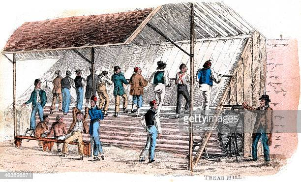 Treadmill at Brixton prison London 1827 Introduced for prison discipline by William Cubitt of Ipswich Print published by Ackermann London 1827...