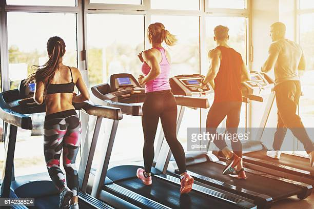 treadmill exercise. - sports equipment stock pictures, royalty-free photos & images