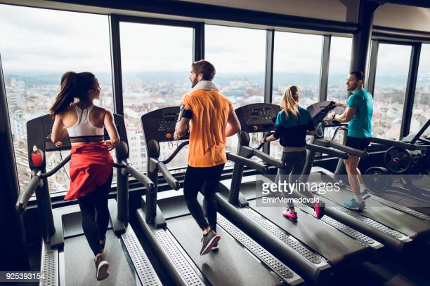 treadmill exercise - treadmill stock pictures, royalty-free photos & images