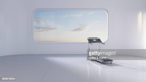 treadmill in futuristic room