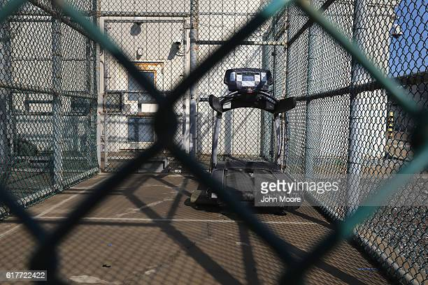 A treadmill lies in an outdoor recreation are for detainees at the US prison at Guantanamo Bay also known as Gitmo on October 22 2016 at the US Naval...