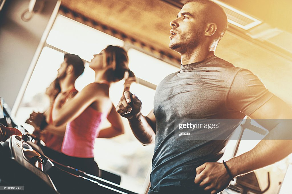Treadmill workout. : Stock Photo